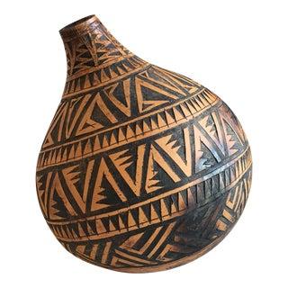 Vintage Boho Tribal Gourd Vessel For Sale
