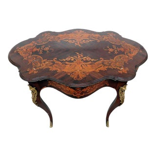 Victorian Inlaid Center Table For Sale