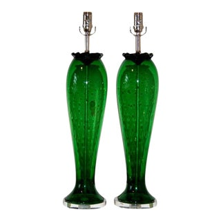 Vintage Murano Glass Table Lamps With Bubbles Green For Sale