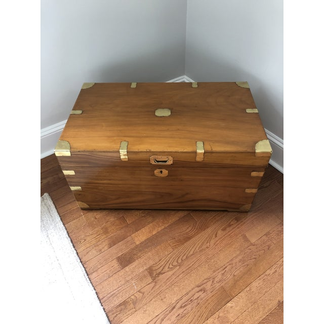 Brass Antique Campaign Trunk With Original Brass and Camphor Interior For Sale - Image 8 of 8