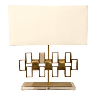 Modern Sculptural Brass Lamp on a Lucite Base For Sale