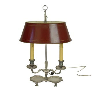 20th Century Traditional Silver Plate Bouillotte Table Lamp With Red Tole Shade For Sale