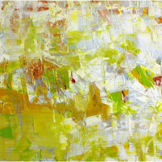 Paul Ashby Abstract Modern Green, Yellow & White Painting