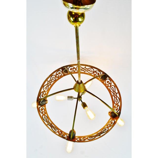 Art Deco Brass 8 Light Chandelier - Image 4 of 11