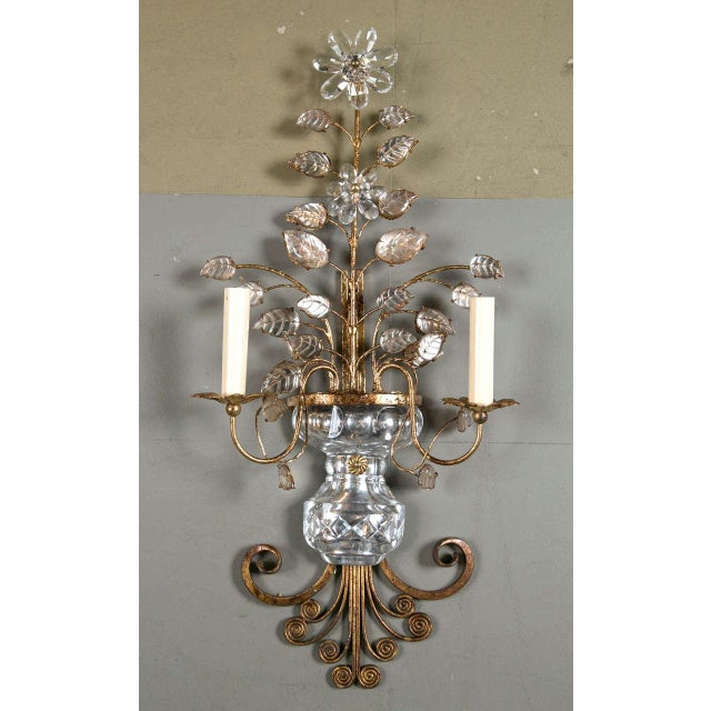 Pair of French Gilt Metal Sconces, circa 1930s. Eight available. Priced per pair.