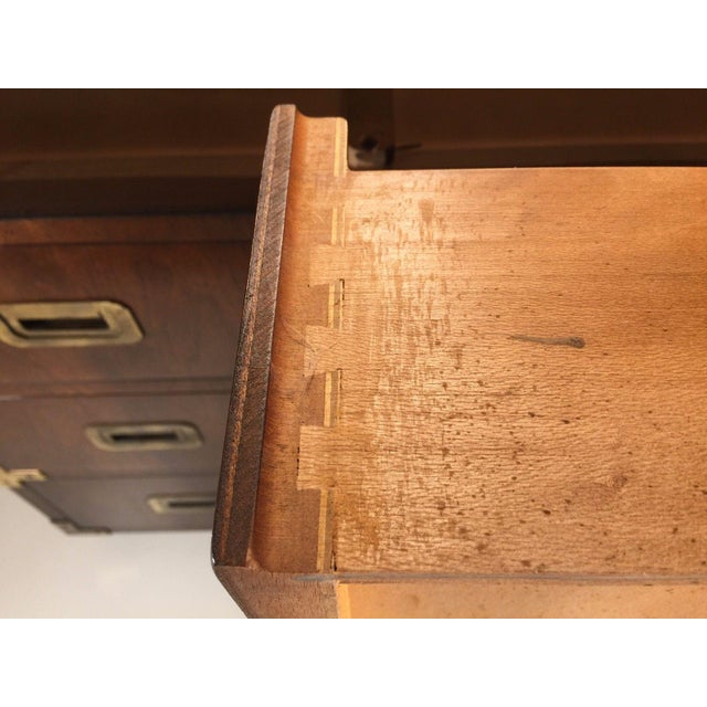 Henredon Vintage Henredon Campaign Low Boy Chest For Sale - Image 4 of 6