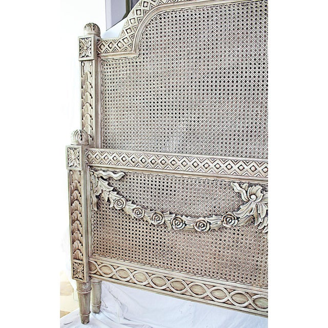 Vintage Louis XVI Style Caned Bed, Queen For Sale In West Palm - Image 6 of 10