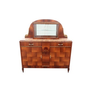 Art Deco Cocobolo Wood & Marble Top Bar For Sale