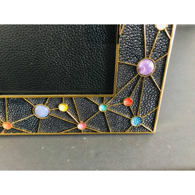 Shagreen With Multi-Color Stones Photo Frame by Fabio Ltd For Sale In Palm Springs - Image 6 of 10