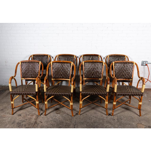 Brown Rattan Dining Chairs- Set of 8 For Sale - Image 8 of 8