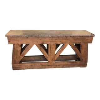 Rustic Stone Top Console For Sale
