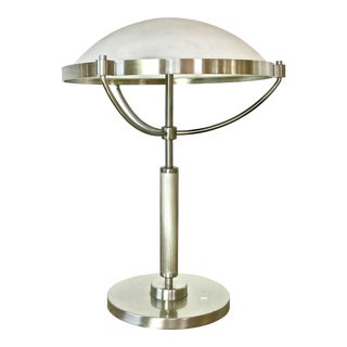 1940s French Art Deco Table Lamp With a Frosted White Saucer Lampshade by Le Grand Salon For Sale