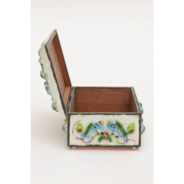 "Blue Vintage Chinese Rare Metal and Enamel ""Good Luck"" Box For Sale - Image 8 of 10"