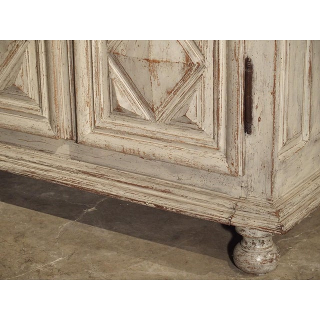 French Painted 17th Century French Oak Diamond Point Armoire For Sale - Image 3 of 13