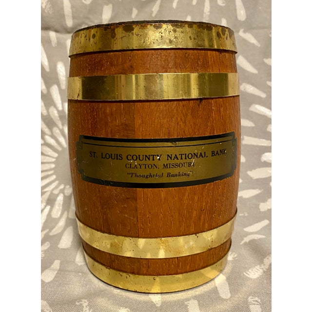"1940s Vintage St. Louis County National Bank Clayton ""Thoughtful Banking"" Coin Barrel For Sale - Image 9 of 9"