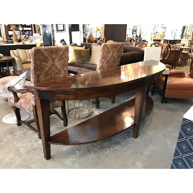 Rustic Wood Demilune Console - Image 3 of 5