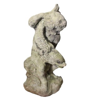 Late 19th Century Victorian Cast-Stone Boy Holding Dolphin Fountainhead For Sale