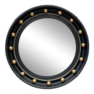 English Round Ebony Black and Gold Framed Convex Mirror For Sale