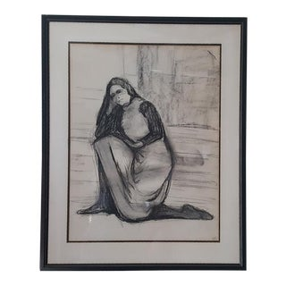Charcoal Drawing of Nun For Sale