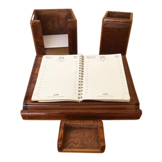 "Vintage Hermes Inlaid ""H"" Burlwood Desk Set - 5 Piece For Sale"