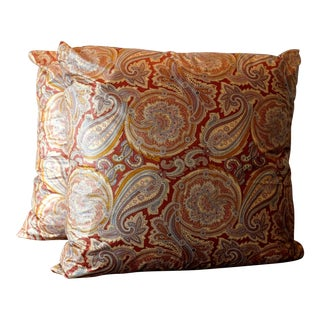 Vintage Clarence House Italian Paisley Chintz Pillow Covers - a Pair For Sale