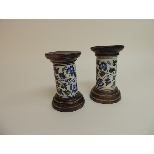 Blue & White Floral Ceramic Candle Holders - A Pair - Image 4 of 5