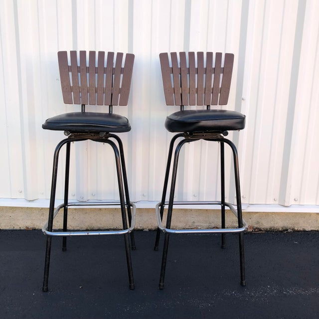 Modern Black Swivel Bar Stools With Faux Wood Seat Backs - A Pair For Sale - Image 3 of 13