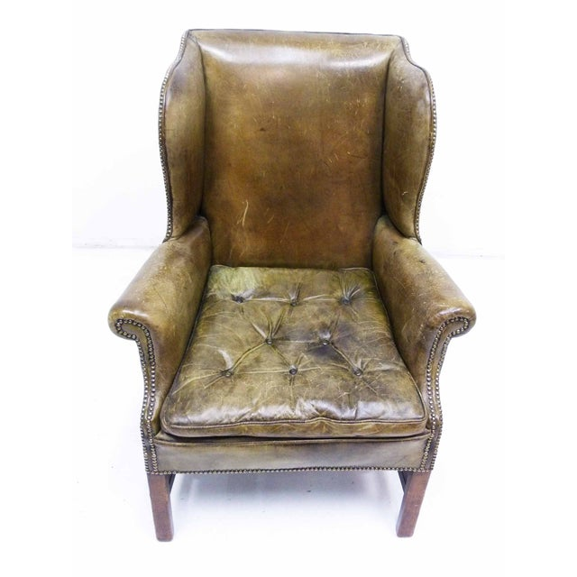 Distressed Leather 19th C. Wingback Chair - Image 4 of 10