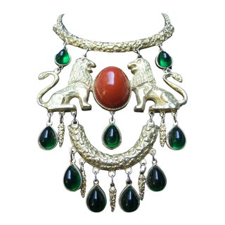 Extraordinary Massive Lion Cabochon Necklace Attributed to Donald Stannard For Sale