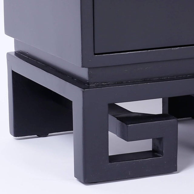 Mid-Century Black Lacquered Bedside Chests or Nightstands - A Pair For Sale - Image 9 of 10