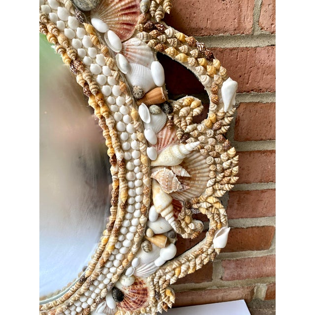 Mid 20th Century Hollywood Regency Style Shell Encrusted Mirror For Sale - Image 5 of 13