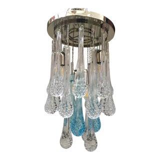 Big Drops Gold and Sea Blues Murano Glass Sputnik Chandelier For Sale