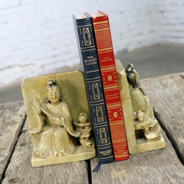 Antique Carved Soapstone Bookends With Chinese Figures and Teapot Detail For Sale - Image 6 of 13