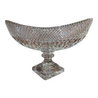 Mid-Century French Cut Glass Crystal Decorative Bowl Centerpiece For Sale