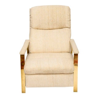 Milo Baughman Brass Recliner, 1970s For Sale
