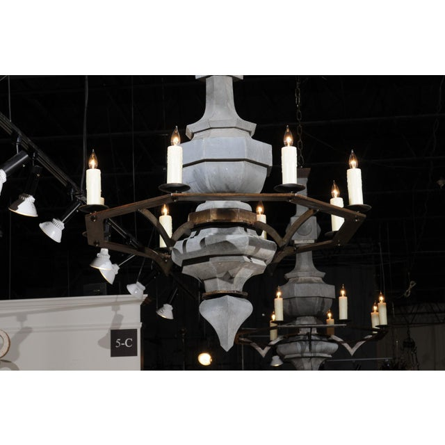 Early 21st Century Grand Scale Contemporary Industrial Chandelier Made with 19th Century Zinc Finial For Sale - Image 5 of 11
