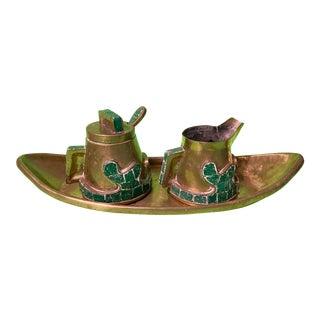 Salvador Teran Mexican Brass Glass Mosaic Cream Sugar Tray Set - 4 Piece Set For Sale