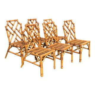 Vintage Rattan Chinese Chippendale Dining Chairs- Set 6 For Sale