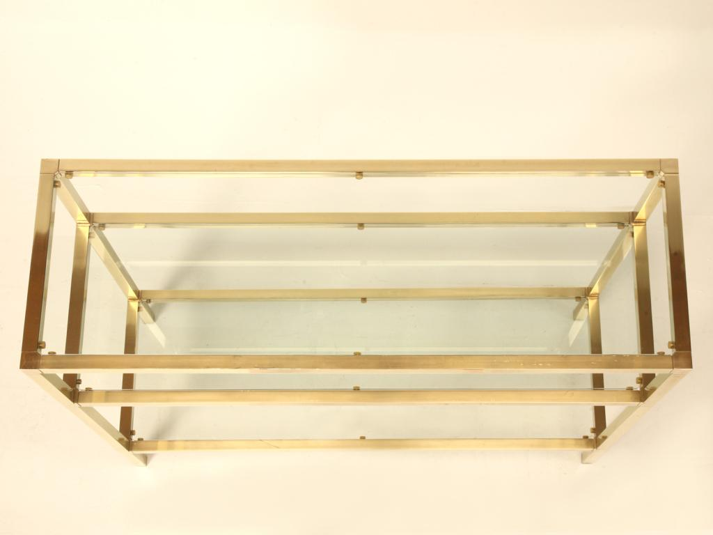 Sophisticated Vintage French Modern 3 Level Brushed Brass Glass