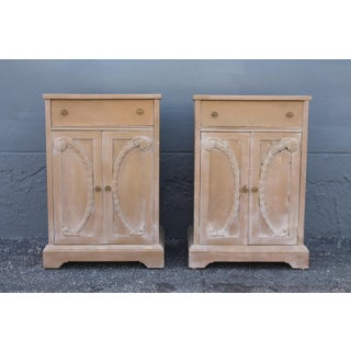 1930s Hollywood Regency Plume Carved Mirrored Top Nightstands - a Pair Preview