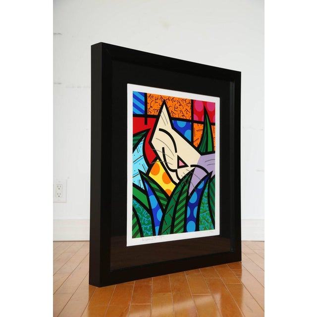 """Limited edition Pop Art silkscreen print by Romero Britto. Sold out edition titled """"Behind the Bushes"""", numbered 107/300...."""