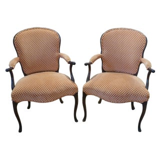 19th Century Vintage Georgian Style English Upholstered Armchairs - a Pair For Sale