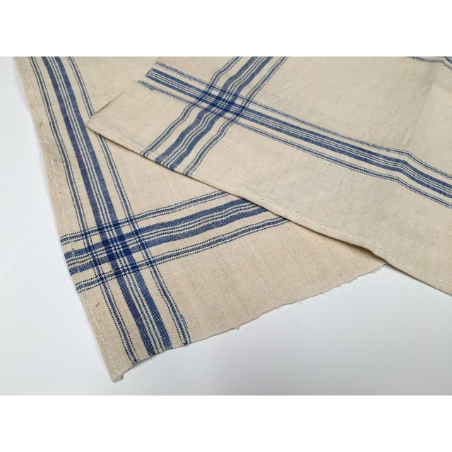 Homespun Flax Linen French Blue Plaid Towels - A Pair - Image 6 of 7