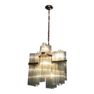 Lightolier Brass & Glass Sciolari Chandelier