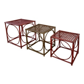 Franco Albini Rattan Nesting Tables - Set of 3 For Sale