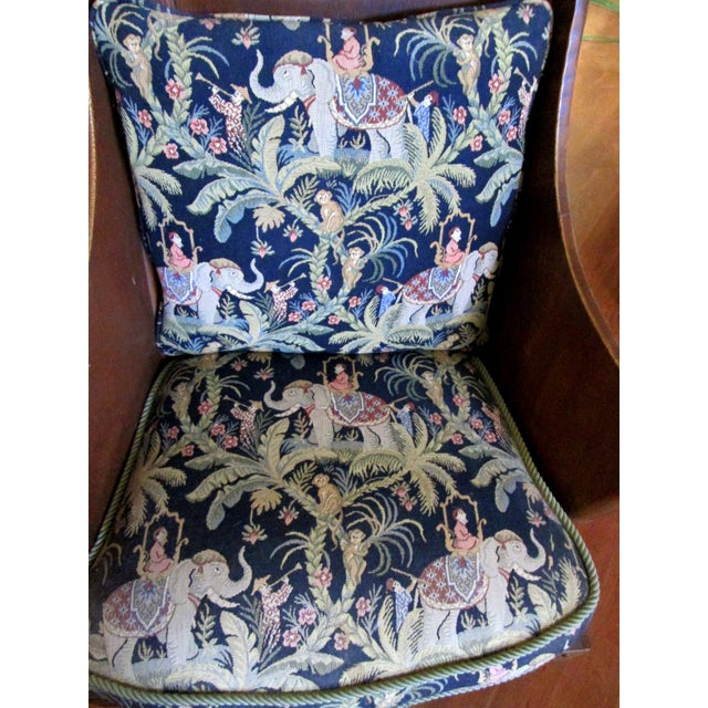 Antique Ornate Carved Wooden Wingback Chair W/ Monkey & Elephant Upholstered Cushions For Sale - Image 4 of 11