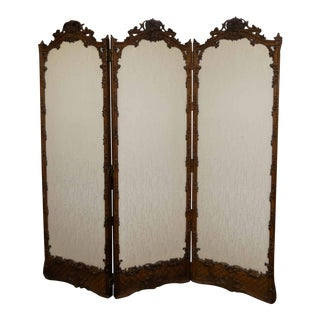Early 20th Century Antique French Carved Oak Room Divider With Silk Panels, Made in Paris For Sale