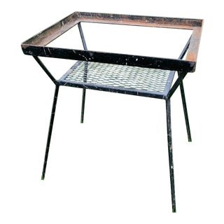 Mid Century-Modern Table Iron Frame Marble Top Mesh Tier for Magazines/Books For Sale