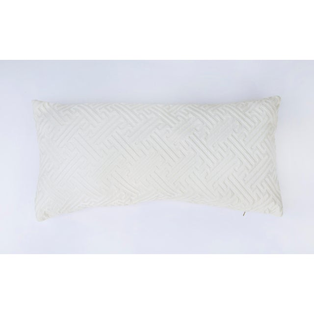 Cream colored geometric patterned lumbar pillow. Simple yet elegant design will compliment any room of your house! This...