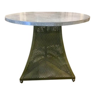 Industrial Modern Concrete & Metal Round End Table For Sale
